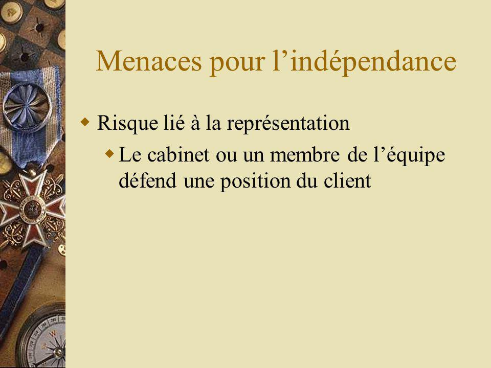 Menaces pour lindépendance Risque lié à la représentation Le cabinet ou un membre de léquipe défend une position du client