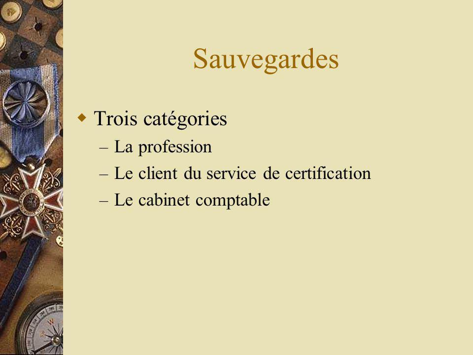 Sauvegardes Trois catégories – La profession – Le client du service de certification – Le cabinet comptable