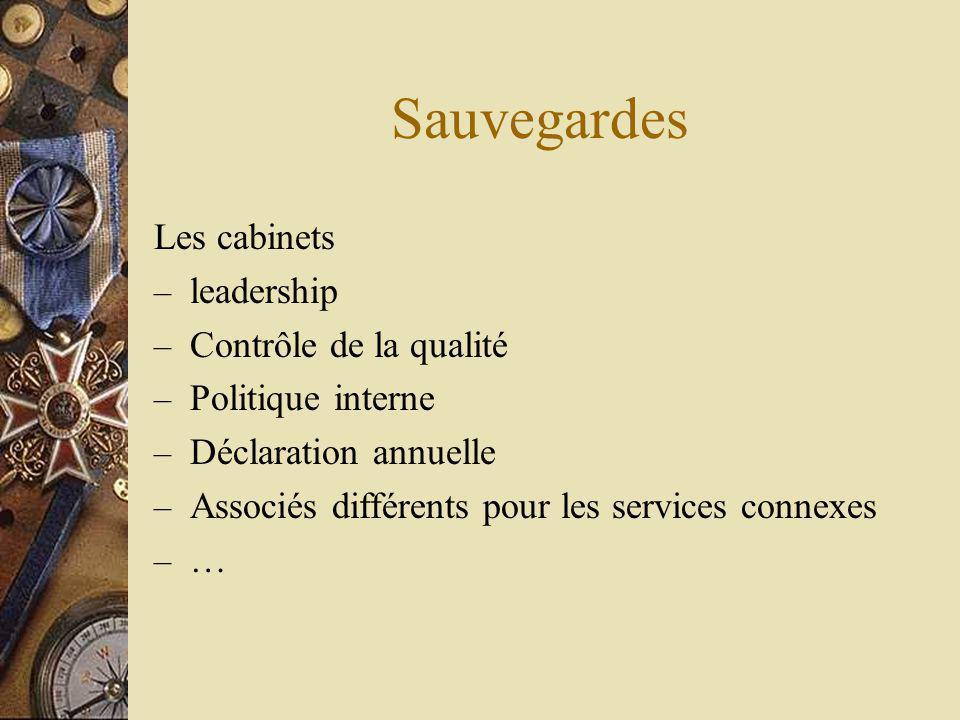 Sauvegardes Les cabinets – leadership – Contrôle de la qualité – Politique interne – Déclaration annuelle – Associés différents pour les services connexes – …