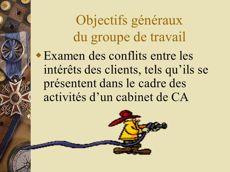 Objectifs généraux du groupe de travail Examen des conflits entre les intérêts des clients, tels quils se présentent dans le cadre des activités dun cabinet de CA