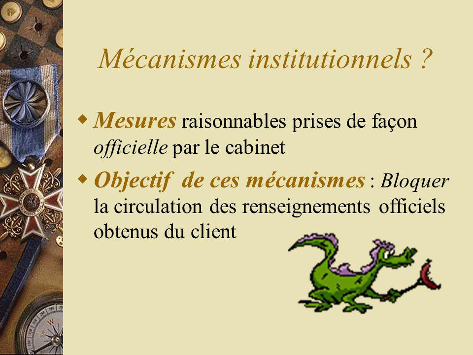 Mécanismes institutionnels .