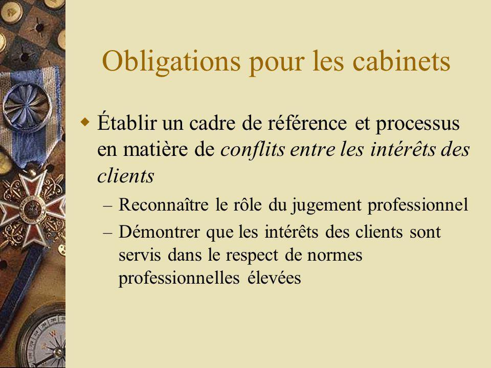 Obligations pour les cabinets Établir un cadre de référence et processus en matière de conflits entre les intérêts des clients – Reconnaître le rôle du jugement professionnel – Démontrer que les intérêts des clients sont servis dans le respect de normes professionnelles élevées