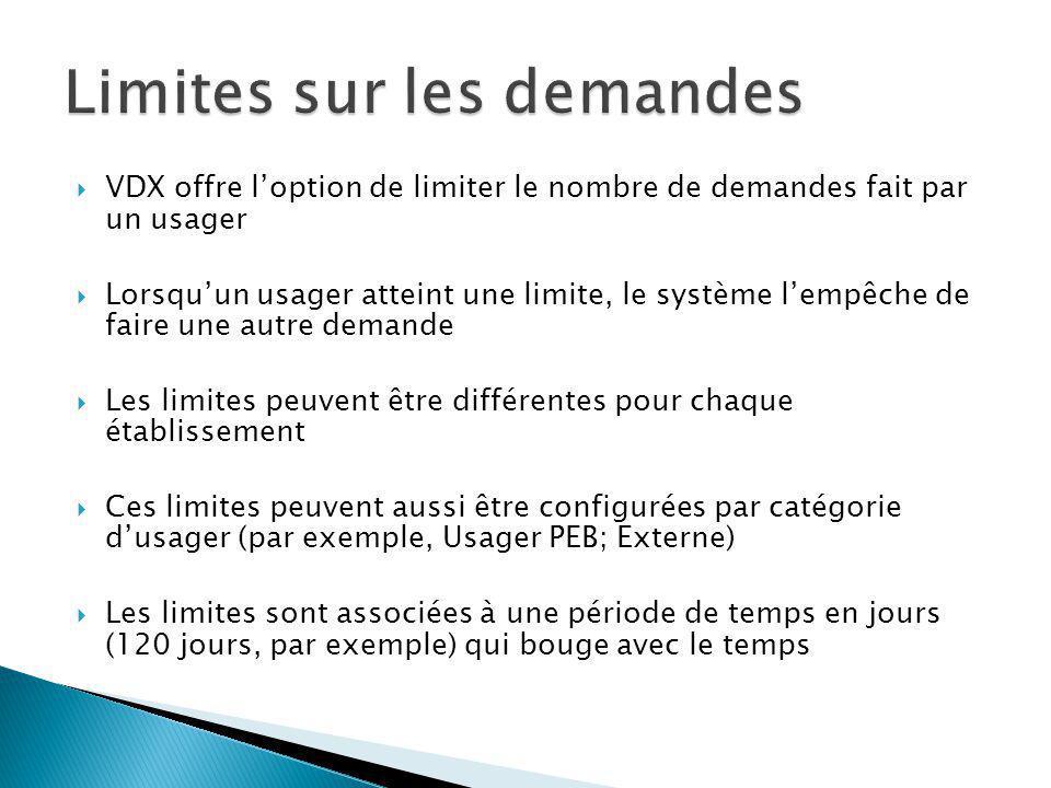 VDX offre loption de limiter le nombre de demandes fait par un usager Lorsquun usager atteint une limite, le système lempêche de faire une autre demande Les limites peuvent être différentes pour chaque établissement Ces limites peuvent aussi être configurées par catégorie dusager (par exemple, Usager PEB; Externe) Les limites sont associées à une période de temps en jours (120 jours, par exemple) qui bouge avec le temps