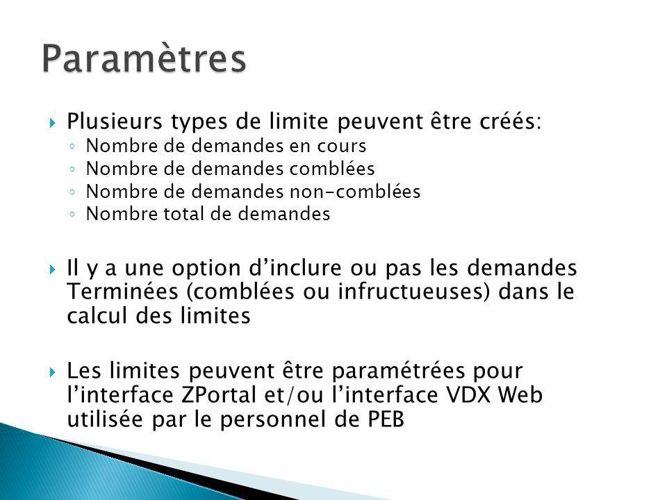 Plusieurs types de limite peuvent être créés: Nombre de demandes en cours Nombre de demandes comblées Nombre de demandes non-comblées Nombre total de