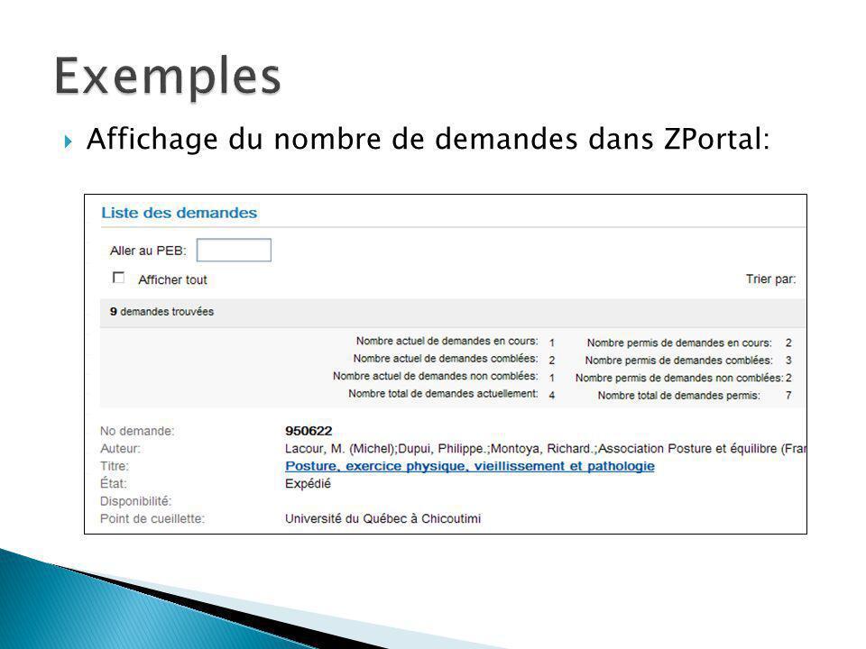 Message dans Zportal: Message dans VDX Web: