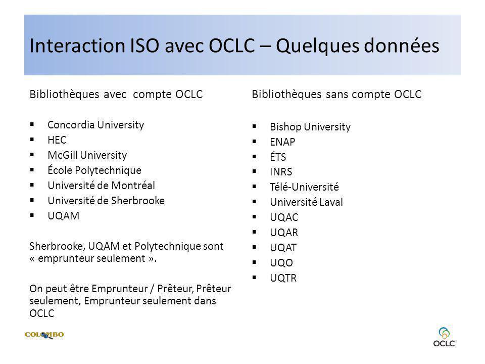 Interaction ISO avec OCLC – Quelques données Bibliothèques avec compte OCLC Concordia University HEC McGill University École Polytechnique Université de Montréal Université de Sherbrooke UQAM Sherbrooke, UQAM et Polytechnique sont « emprunteur seulement ».