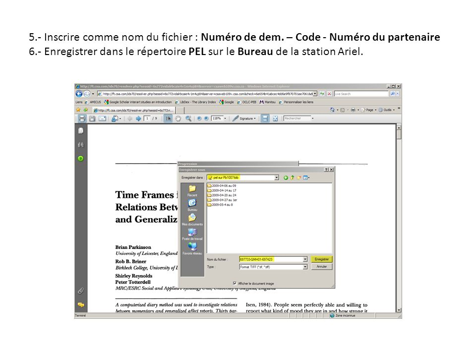5.- Inscrire comme nom du fichier : Numéro de dem.