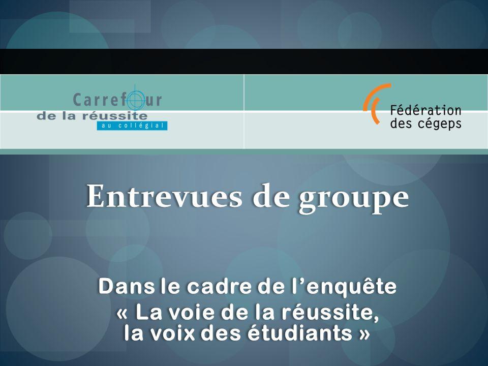 Entrevues de groupe Dans le cadre de lenquête « La voie de la réussite, la voix des étudiants » Entrevues de groupe Dans le cadre de lenquête « La voie de la réussite, la voix des étudiants »