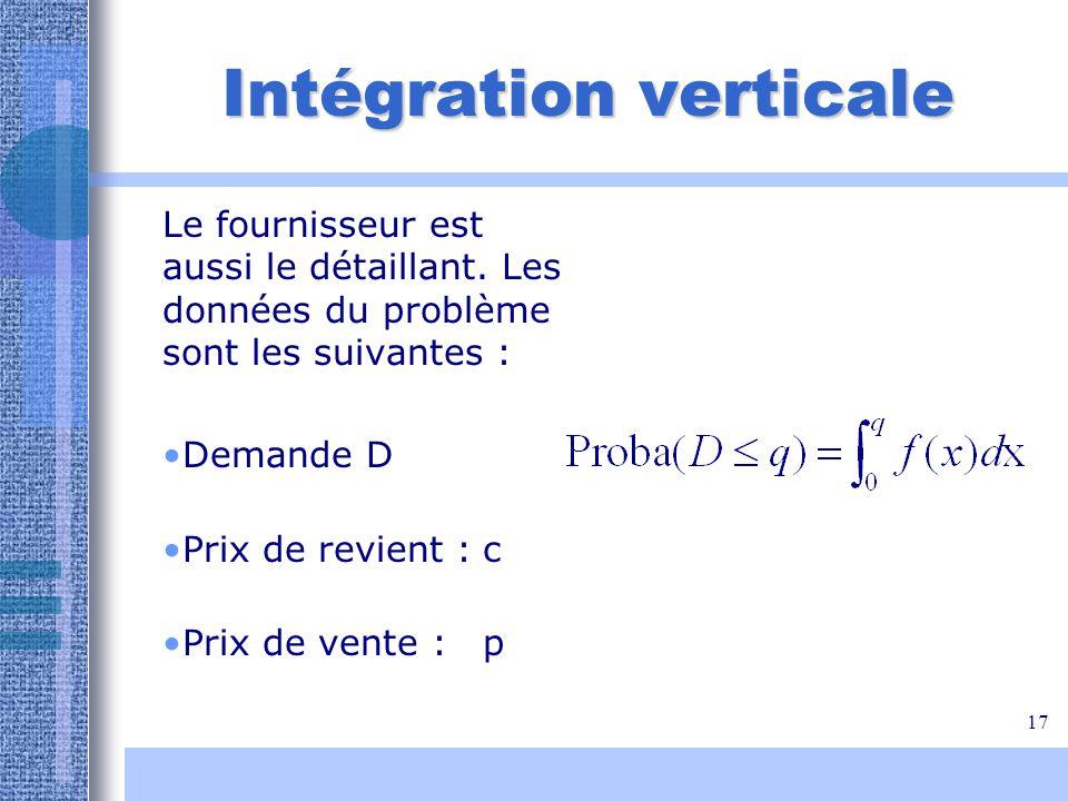 17 Intégration verticale Le fournisseur est aussi le détaillant. Les données du problème sont les suivantes : Demande D Prix de revient :c Prix de ven