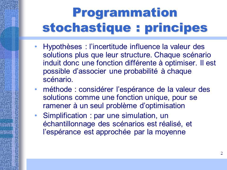 2 Programmation stochastique : principes Hypothèses : lincertitude influence la valeur des solutions plus que leur structure. Chaque scénario induit d