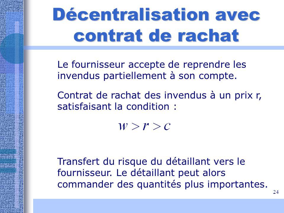 24 Décentralisation avec contrat de rachat Transfert du risque du détaillant vers le fournisseur. Le détaillant peut alors commander des quantités plu