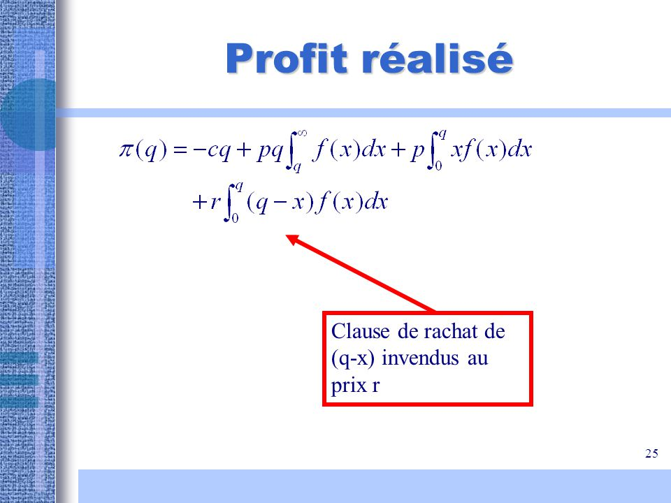25 Profit réalisé Clause de rachat de (q-x) invendus au prix r