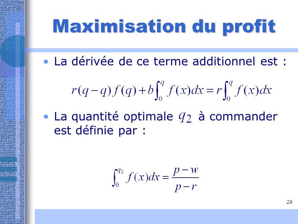 26 Maximisation du profit La dérivée de ce terme additionnel est : La quantité optimale à commander est définie par :
