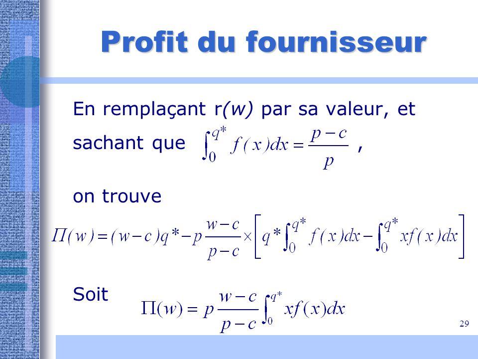 29 Profit du fournisseur En remplaçant r(w) par sa valeur, et sachant que, on trouve Soit