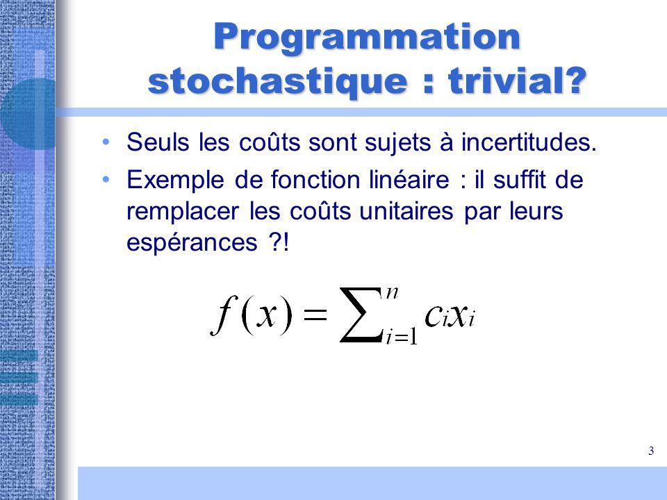 3 Programmation stochastique : trivial? Seuls les coûts sont sujets à incertitudes. Exemple de fonction linéaire : il suffit de remplacer les coûts un