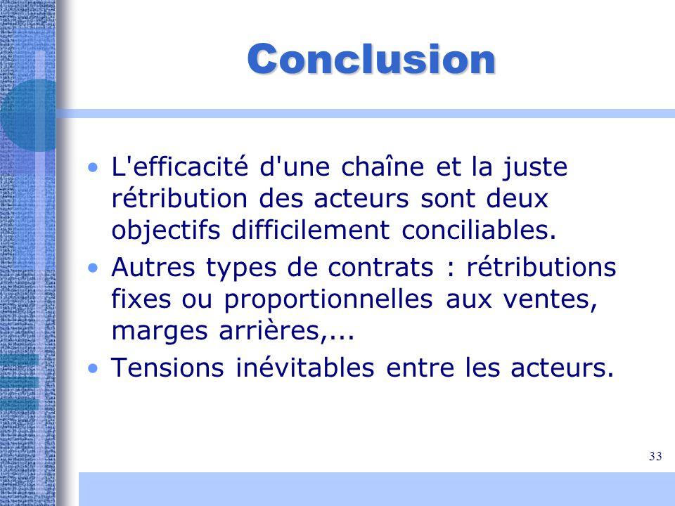 33 Conclusion L'efficacité d'une chaîne et la juste rétribution des acteurs sont deux objectifs difficilement conciliables. Autres types de contrats :