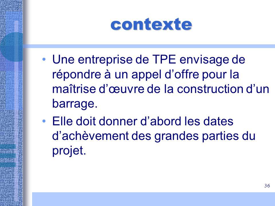 36 contexte Une entreprise de TPE envisage de répondre à un appel doffre pour la maîtrise dœuvre de la construction dun barrage. Elle doit donner dabo