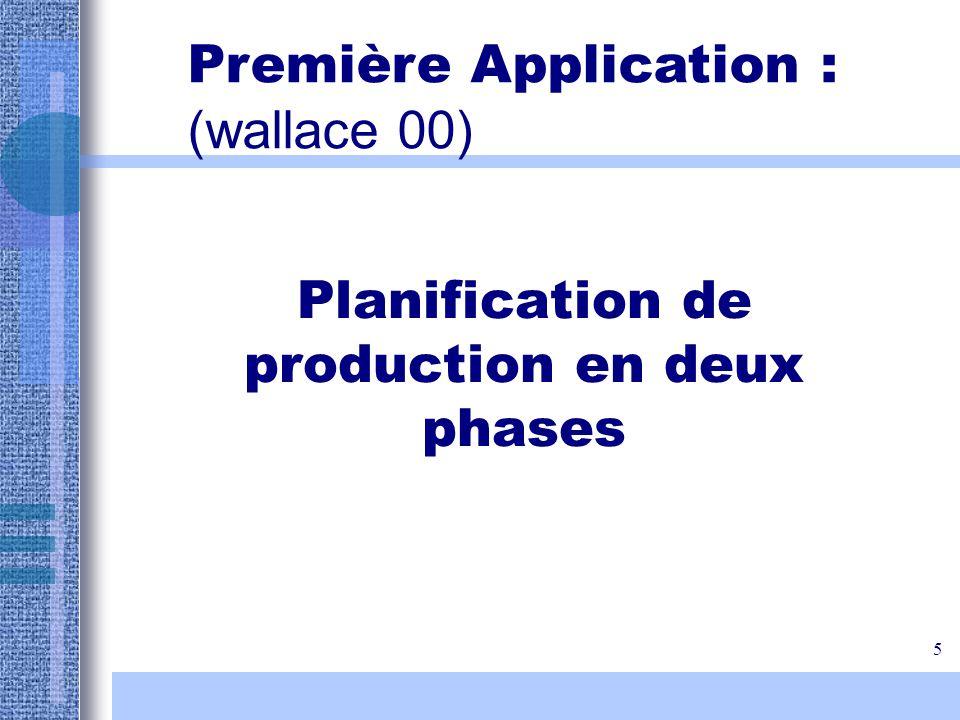 5 Planification de production en deux phases Première Application : (wallace 00)