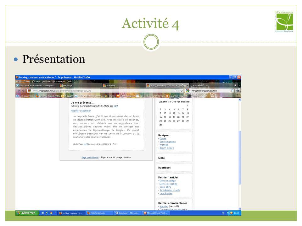Activité 4 Présentation