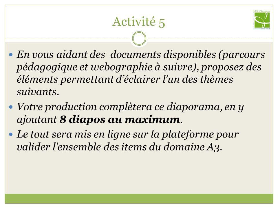 Activité 5 En vous aidant des documents disponibles (parcours pédagogique et webographie à suivre), proposez des éléments permettant déclairer lun des thèmes suivants.