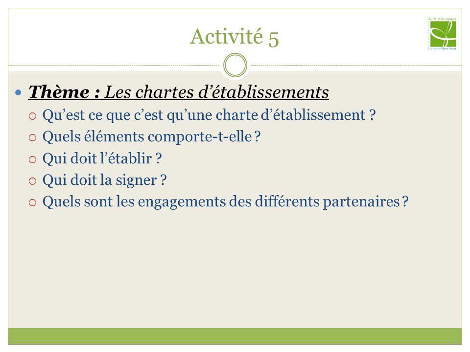 Activité 5 Thème : Les chartes détablissements Quest ce que cest quune charte détablissement ? Quels éléments comporte-t-elle ? Qui doit létablir ? Qu