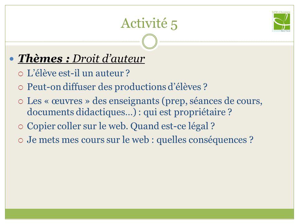 Activité 5 Thèmes : Droit dauteur Lélève est-il un auteur ? Peut-on diffuser des productions délèves ? Les « œuvres » des enseignants (prep, séances d