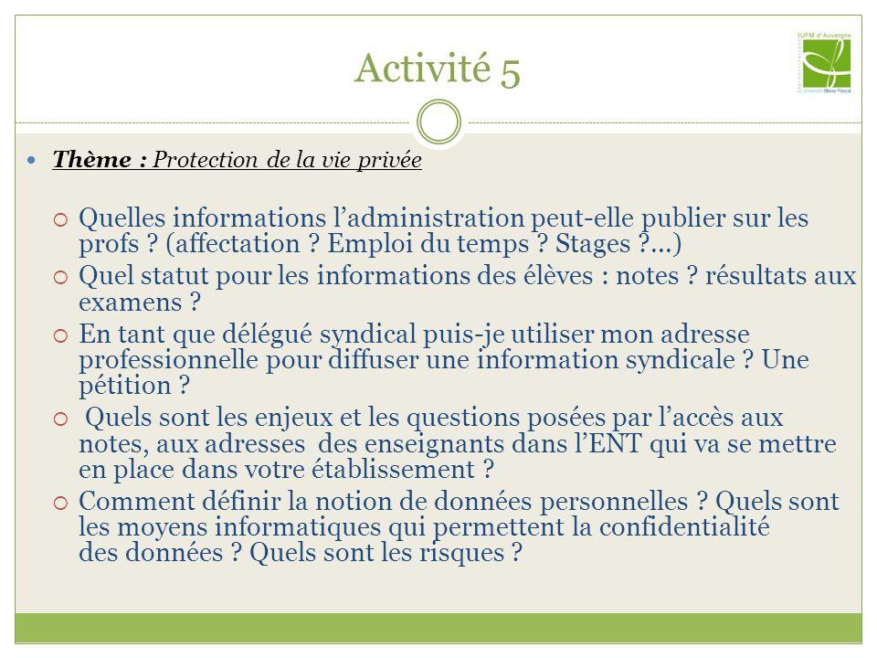 Activité 5 Thème : Protection de la vie privée Quelles informations ladministration peut-elle publier sur les profs ? (affectation ? Emploi du temps ?