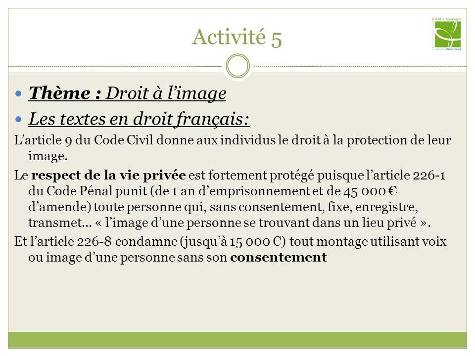 Activité 5 Thème : Droit à limage Les textes en droit français: Larticle 9 du Code Civil donne aux individus le droit à la protection de leur image.