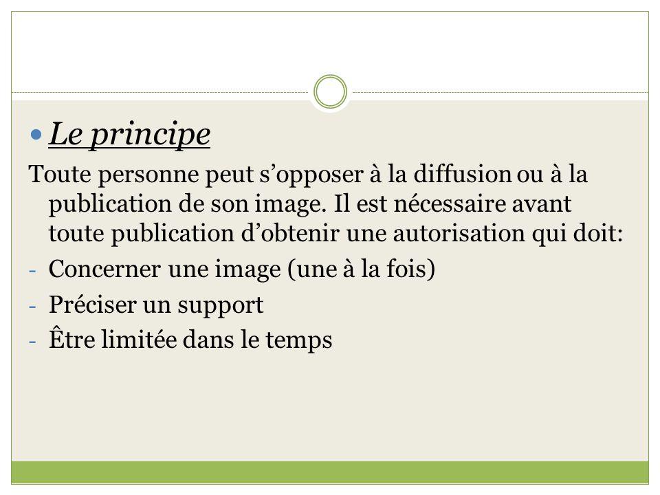 Le principe Toute personne peut sopposer à la diffusion ou à la publication de son image. Il est nécessaire avant toute publication dobtenir une autor