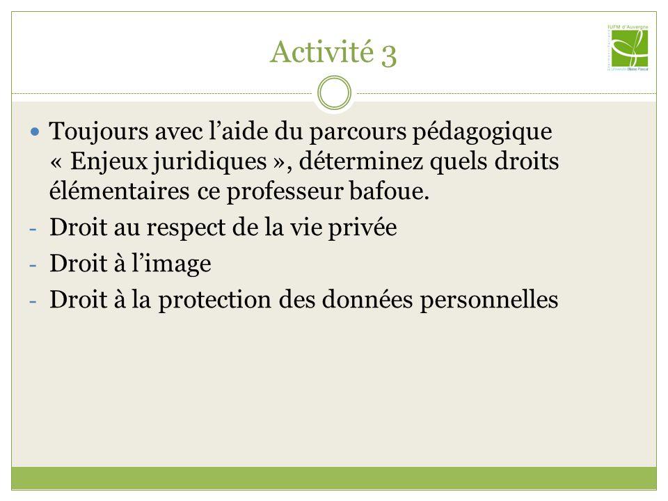 Activité 3 Toujours avec laide du parcours pédagogique « Enjeux juridiques », déterminez quels droits élémentaires ce professeur bafoue. - Droit au re