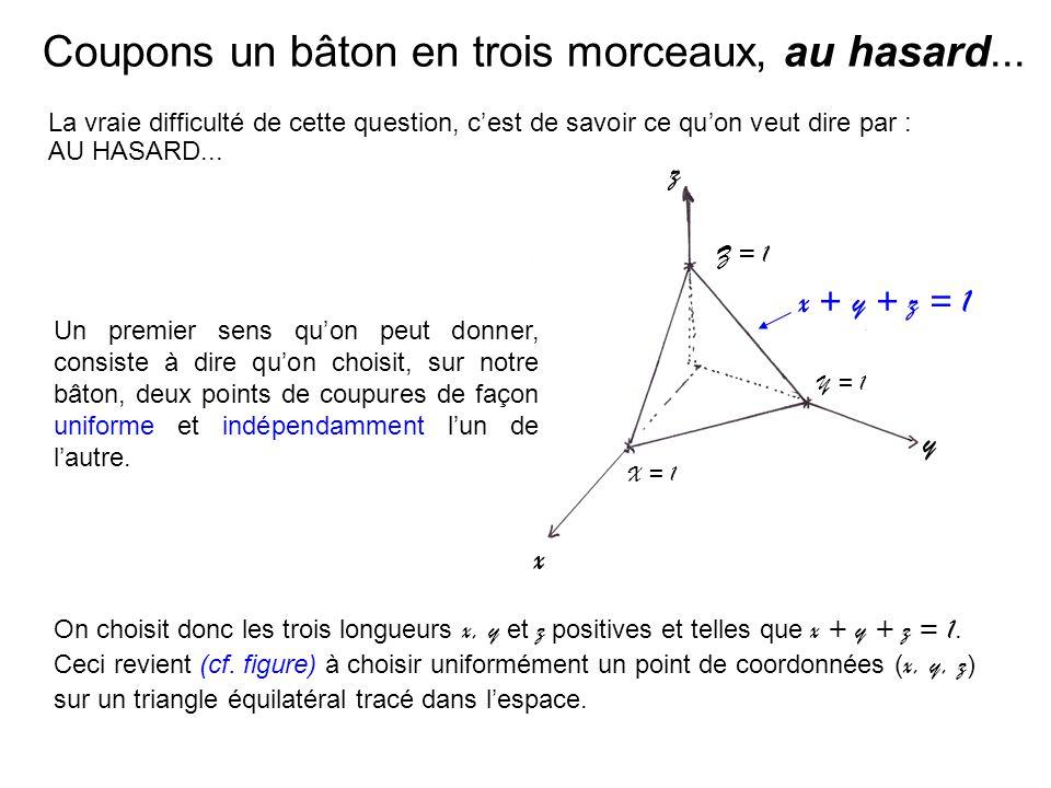Coupons un bâton en trois morceaux, au hasard... La vraie difficulté de cette question, cest de savoir ce quon veut dire par : AU HASARD... z x y Z =