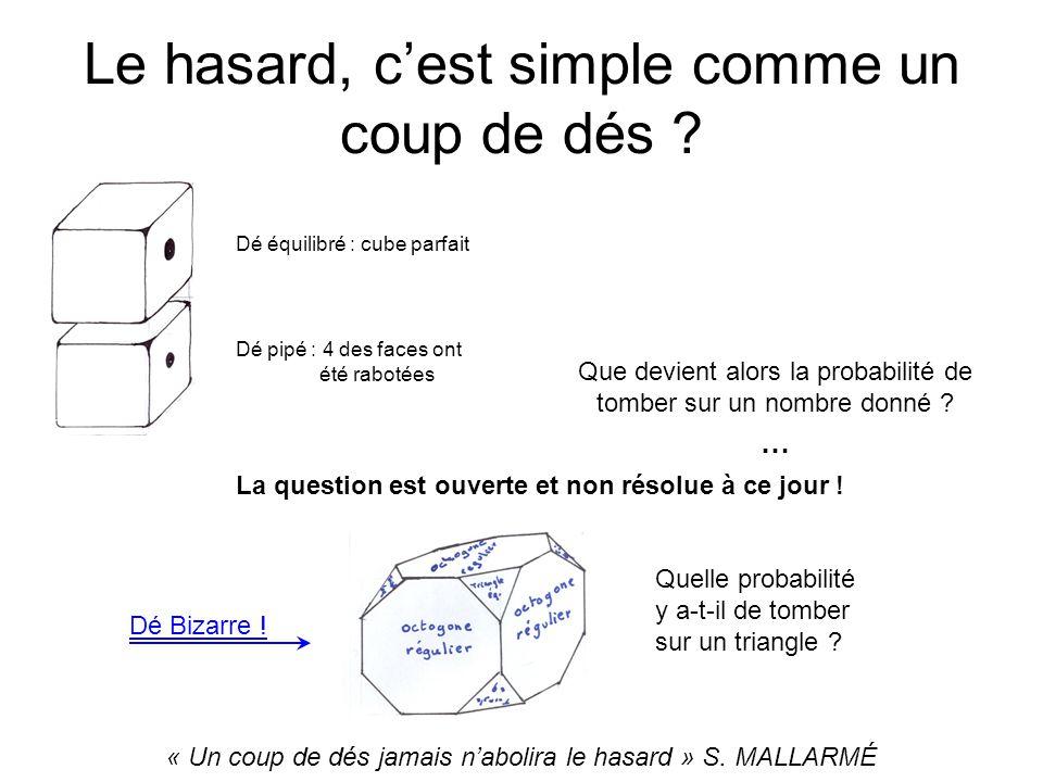 Le hasard, cest simple comme un coup de dés ? Que devient alors la probabilité de tomber sur un nombre donné ? … Dé équilibré : cube parfait Dé pipé :