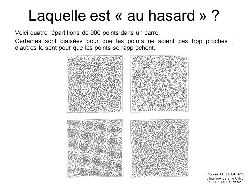 Laquelle est « au hasard » ? Voici quatre répartitions de 900 points dans un carré. Certaines sont biaisées pour que les points ne soient pas trop pro