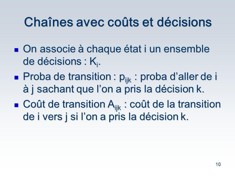 10 Chaînes avec coûts et décisions On associe à chaque état i un ensemble de décisions : K i.