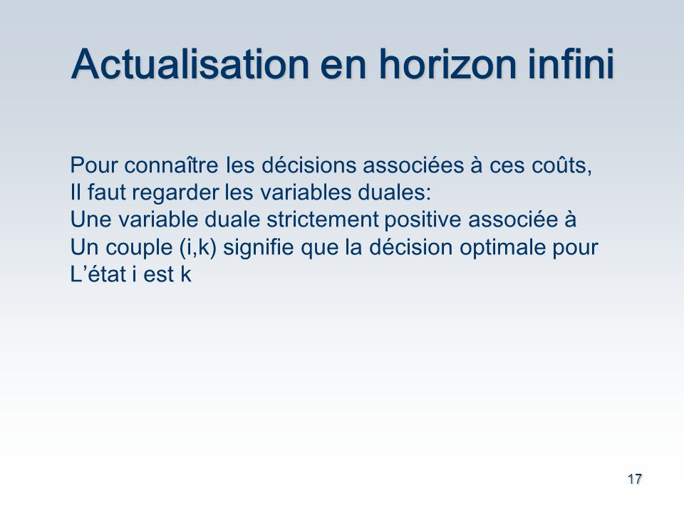 17 Actualisation en horizon infini Pour connaître les décisions associées à ces coûts, Il faut regarder les variables duales: Une variable duale strictement positive associée à Un couple (i,k) signifie que la décision optimale pour Létat i est k