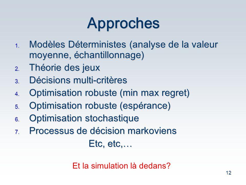 12 Approches 1. Mod è les D é terministes (analyse de la valeur moyenne, é chantillonnage) 2. Th é orie des jeux 3. D é cisions multi-crit è res 4. Op