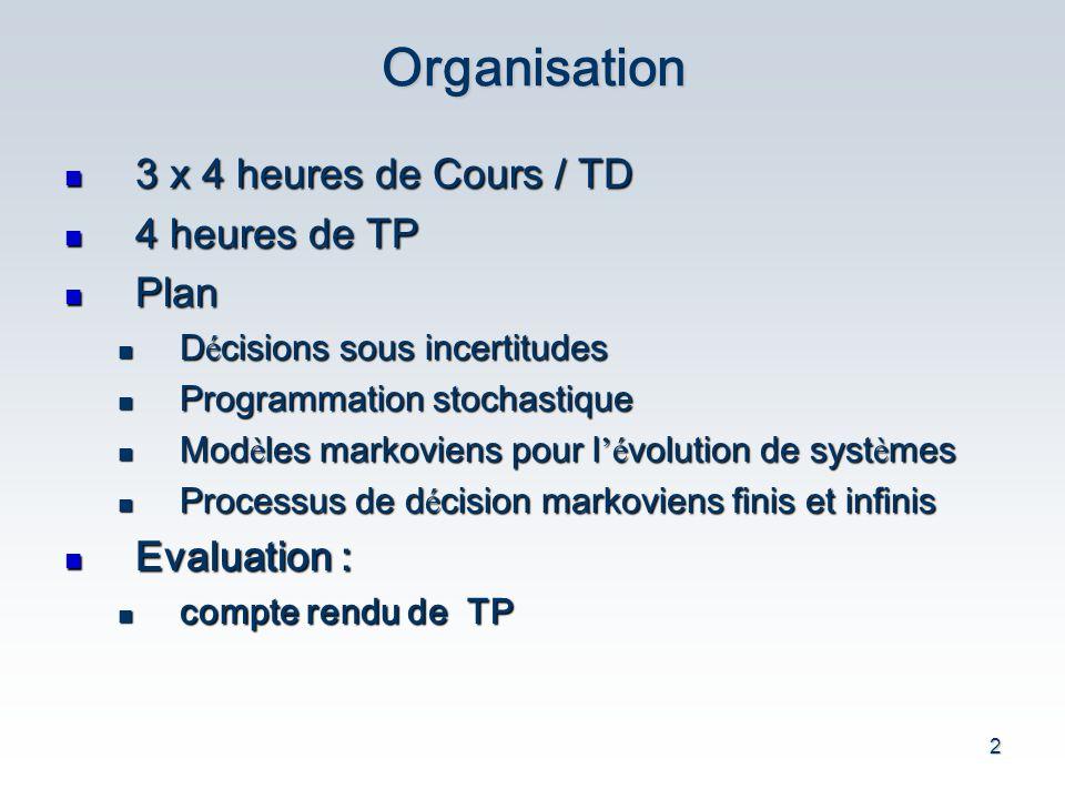 2Organisation 3 x 4 heures de Cours / TD 3 x 4 heures de Cours / TD 4 heures de TP 4 heures de TP Plan Plan D é cisions sous incertitudes D é cisions