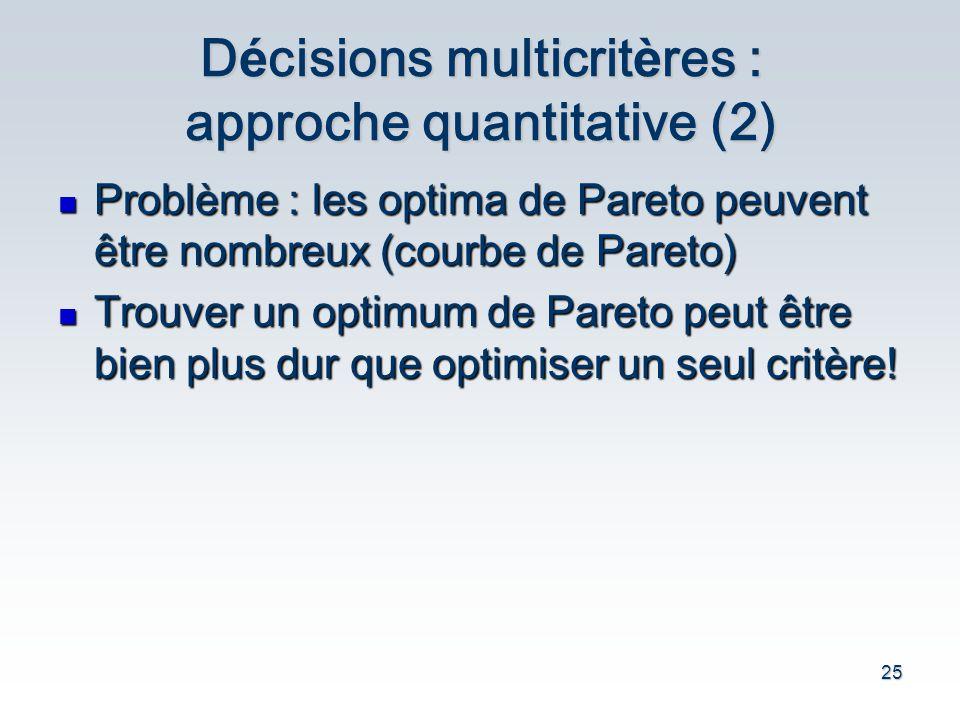 25 D é cisions multicrit è res : approche quantitative (2) Probl è me : les optima de Pareto peuvent être nombreux (courbe de Pareto) Probl è me : les