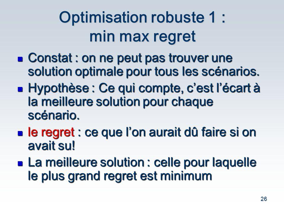 26 Optimisation robuste 1 : min max regret Constat : on ne peut pas trouver une solution optimale pour tous les sc é narios. Constat : on ne peut pas