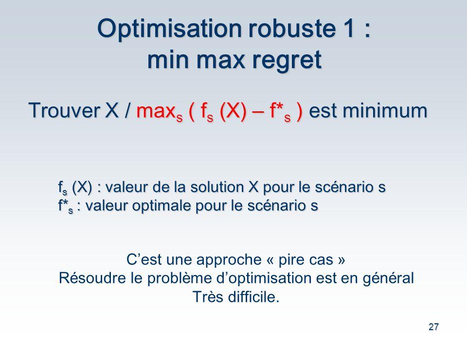 27 Optimisation robuste 1 : min max regret Trouver X / max s ( f s (X) – f* s ) est minimum f s (X) : valeur de la solution X pour le sc é nario s f*