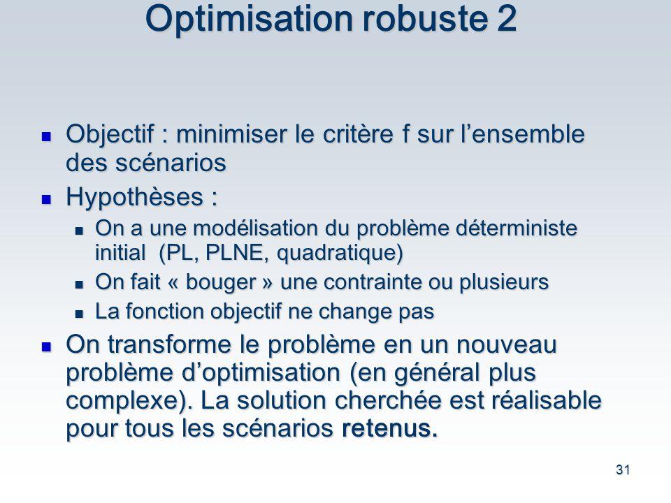 31 Optimisation robuste 2 Objectif : minimiser le crit è re f sur l ensemble des sc é narios Objectif : minimiser le crit è re f sur l ensemble des sc