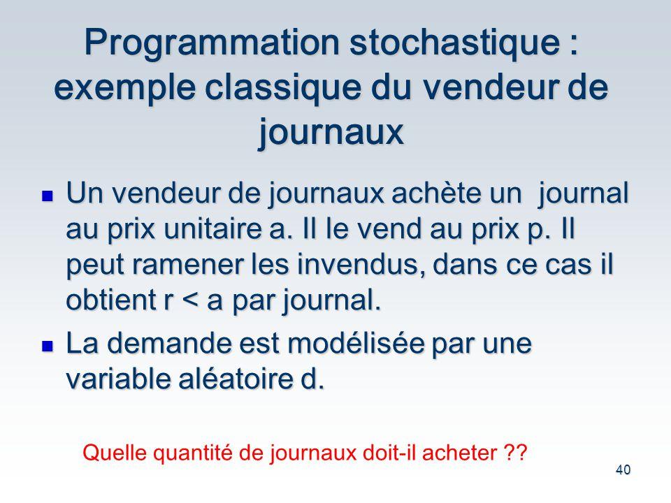 40 Programmation stochastique : exemple classique du vendeur de journaux Un vendeur de journaux ach è te un journal au prix unitaire a. Il le vend au