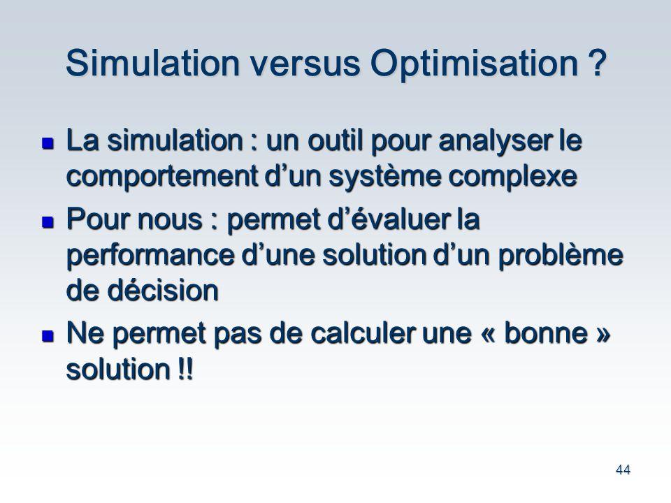 44 Simulation versus Optimisation ? La simulation : un outil pour analyser le comportement d un syst è me complexe La simulation : un outil pour analy