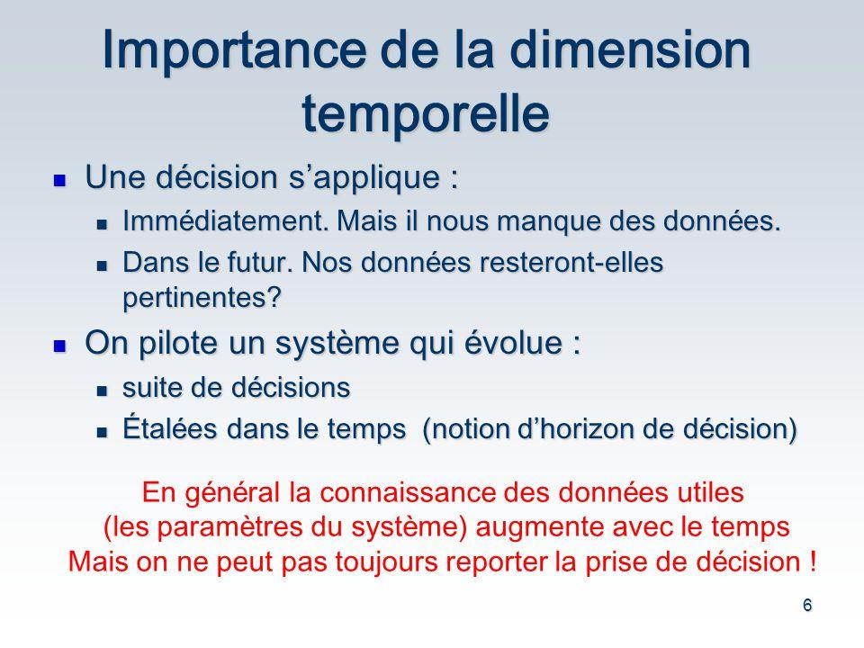 6 Importance de la dimension temporelle Une d é cision s applique : Une d é cision s applique : Imm é diatement. Mais il nous manque des donn é es. Im