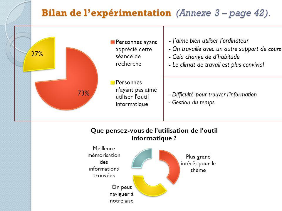 Bilan de lexpérimentation (Annexe 3 – page 42).