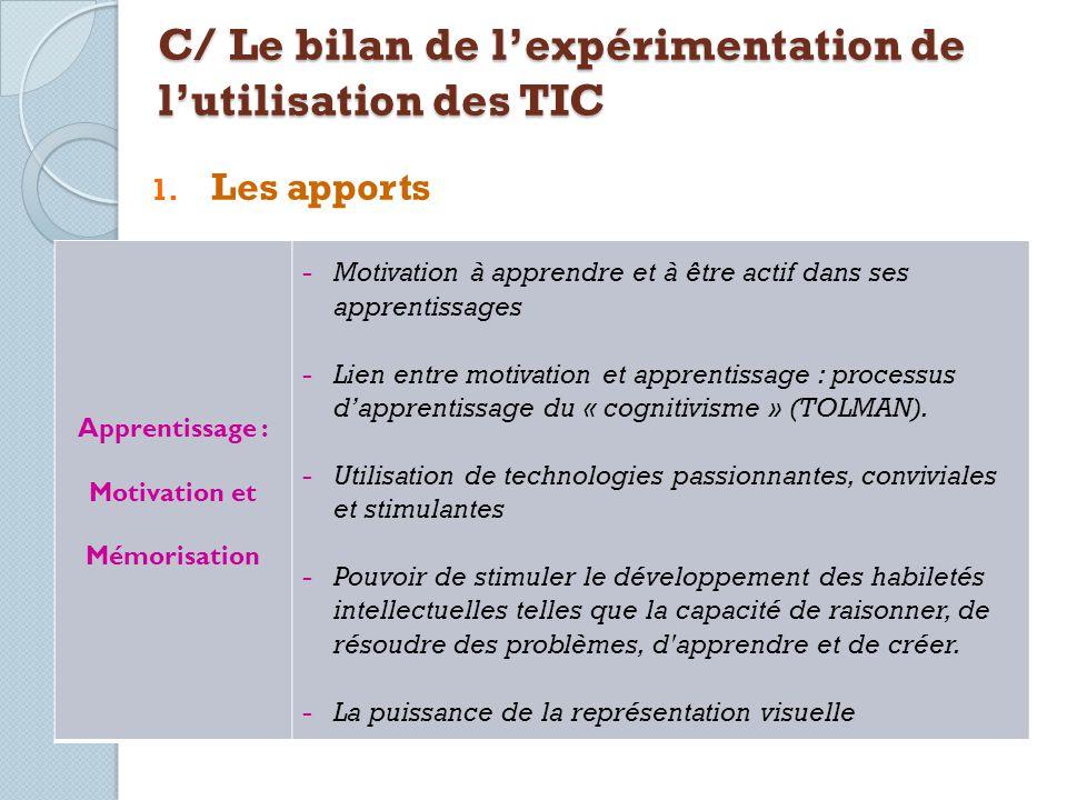 1. Les apports C/ Le bilan de lexpérimentation de lutilisation des TIC Apprentissage : Motivation et Mémorisation -Motivation à apprendre et à être ac