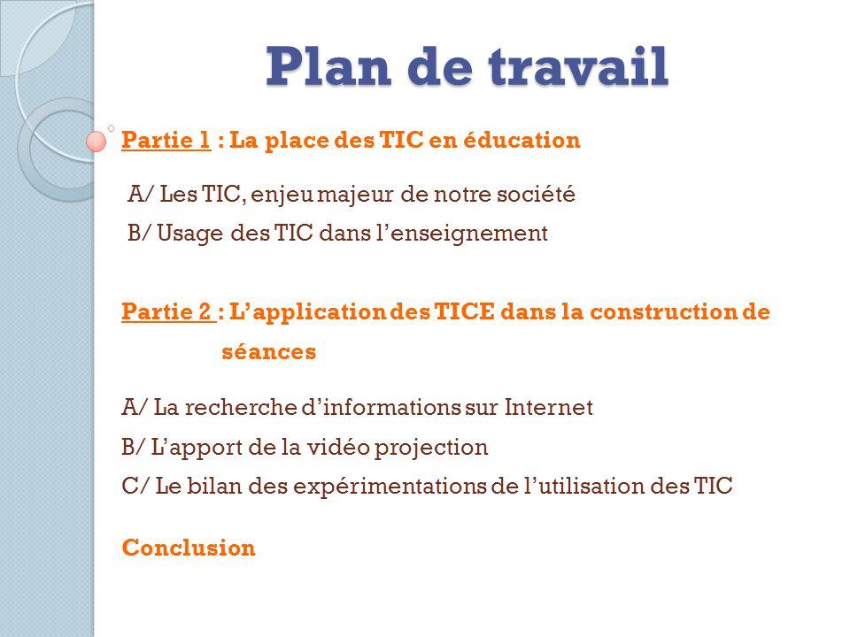 Plan de travail Partie 1 : La place des TIC en éducation A/ Les TIC, enjeu majeur de notre société B/ Usage des TIC dans lenseignement Partie 2 : Lapp