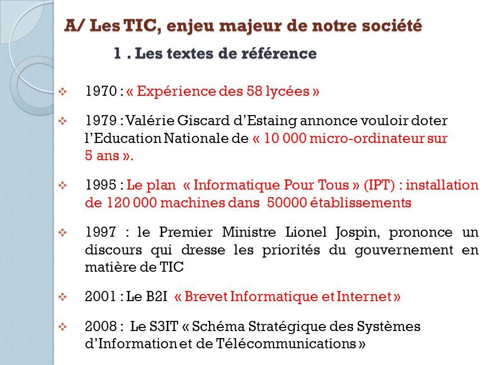 A/ Les TIC, enjeu majeur de notre société 1. Les textes de référence 1970 : « Expérience des 58 lycées » 1979 : Valérie Giscard dEstaing annonce voulo