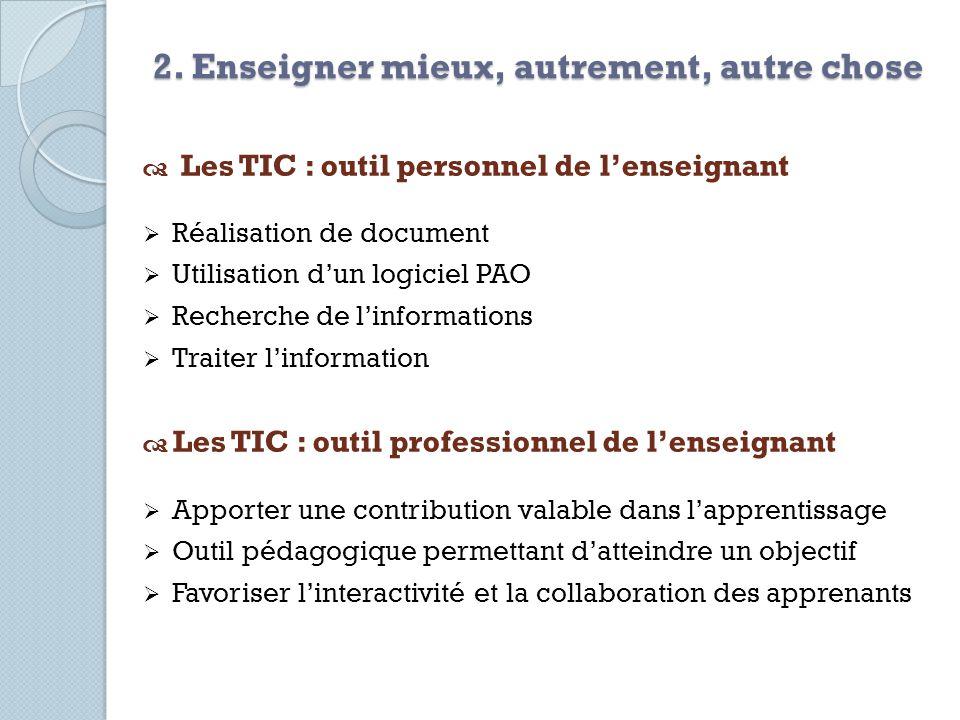 Les TIC : outil personnel de lenseignant Réalisation de document Utilisation dun logiciel PAO Recherche de linformations Traiter linformation Les TIC