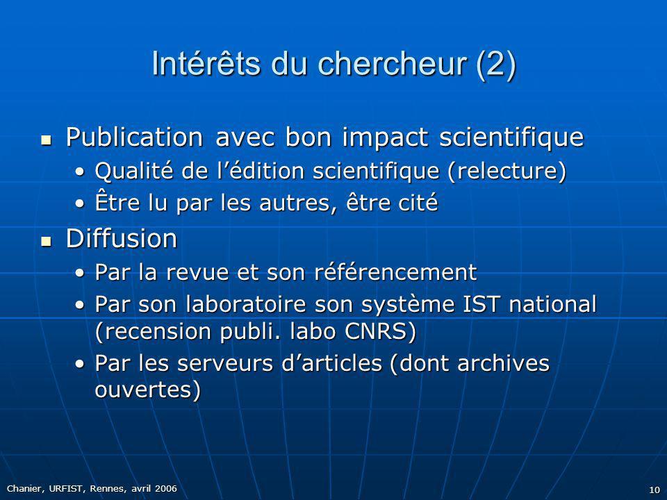 Chanier, URFIST, Rennes, avril 2006 10 Intérêts du chercheur (2) Publication avec bon impact scientifique Publication avec bon impact scientifique Qua